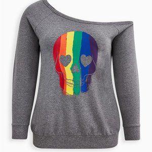 Torrid Rainbow Skull Off Shoulder Grey Sweatshirt